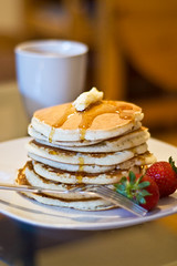 Pancakes (Patricia Marie Photography) Tags: pancakes breakfast strawberries drip butter brunch syrup maplesyrup
