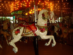 Pretty Pony (margaret mendel) Tags: horse white ny lights carved carousel ryeplayland whitepony paintedflowers westchestercountry newyorksate