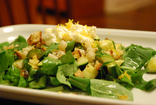 Zucchini, Arugula, Bread, Ricotta and Lemon Salad