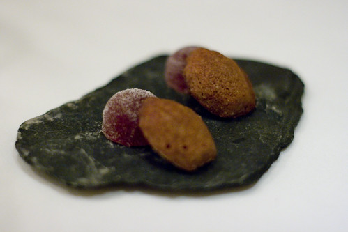 strawberry pate de fruit and chocolate madeleine