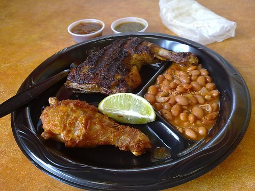 Grilled Chicken, Fried Chicken, and Campero Beans