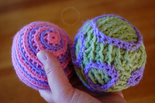 stripey and cratery crocheted balls