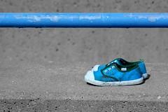 Little Shoes Left Behind (Subzero Blue) Tags: blue bw canon eos 350d shoes selective selectivecolor selectivecolour selectivebw