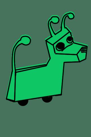 green and black robot dog