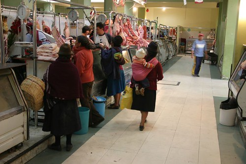 Meat shopping in Ambato, Ecuador.