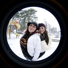 Sisters (pgpanic) Tags: park trees winter dog selfportrait snow lauren nature weather playground sarah sisters digital snowman woods nikon lab frost swings freezing pug wideangle slide rob pitbull fisheye gloves flurries paths fullframe noelle 8mm element d3 bestfriends snowday snowballfight nikond3 nikonwideangle