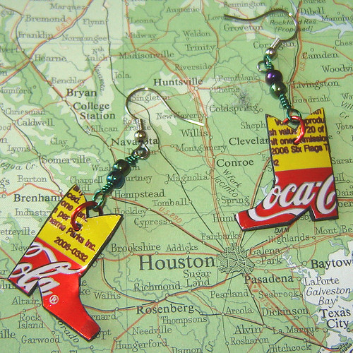 red yellow metal wow colorful graphic cola map recycled soda earrings crayonbox brand beaded clever sodapop repurposed reuse cowboyboots aluminumcan handmande upcycled trashion urbanwoodswalker surfacedeign