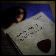 each day is Valentine's Day (Jighen) Tags: texture pen notebook square lyrics foto picture gimp photograph muji av valentinesday penna plectrum testo myfunnyvalentine sanvalentino taccuino plettro mpf february14th2009 pictureswithmusicchetbaker 14febbraio2009