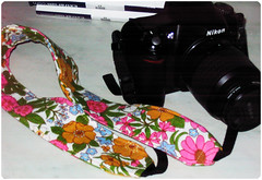 Camera strap slipcover (copyright Hanna Andersson)