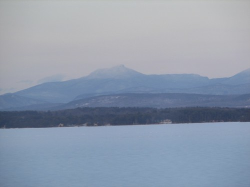 Camels Hump across the icy Lake Champlain