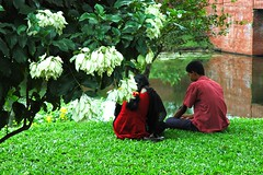 lovers in paradise, two people sit side by side on a lush grass near a brick bridge over a lily pond, inside a beautiful garden at    Jatiyo Smriti Soudho Independence memorial park, Savar, Dhania, Dhaka, Bangladesh (Wonderlane) Tags: bridge red green pond lily over happiness dhaka dhania bangladesh lilypond whiteflowers savar 1681 wonderlane beautifulgarden jatiyosmritisoudho  independencememorialpark jatiyosmritisoudhoindependencememorialpark twopeoplesitsidebysideonalushgrassnearabrickbridgeoveralilypond insideabeautifulgardenatjatiyosmritisoudhoindependencememorialpark