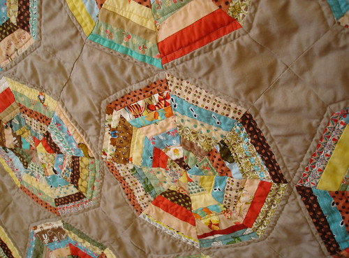 closeup of spiderweb mini quilt
