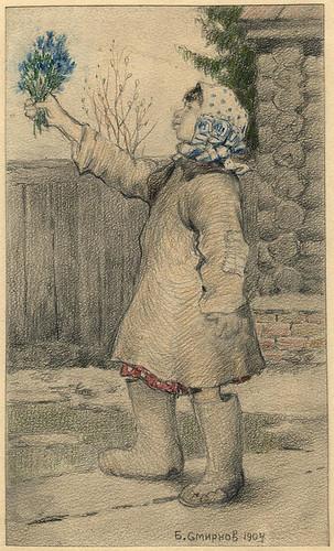 027- Huerfana de una familia de emigrantes vendiendo flores en Irkutsk- Boris Smirnov 1904
