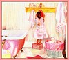 tippy toes! (BettinaBlue Designs) Tags: pink girl childhood bathroom artwork basket girly shelf towels bathtub prismacolor hooks braid paneling nightgown stepstool clawfootedtub