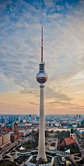 Fernsehturm Berlin (Ole Begemann) Tags: sunset postprocessed berlin architecture clouds buildings germany deutschland europa europe sonnenuntergang cathedral dom cityscapes wolken symmetry alexanderplatz architektur fernsehturm rotesrathaus marienkirche lookingdown mitte 2009 stitched gebude tvtower berlinerdom stadtbild symmetrie falsecolors nachbearbeitet berlincathedral hotelparkinn highangleview falschfarben camera:iso=200 lens:aperture=f80 camera:model=canoneos20d lens:focallength=30mm camera:shutter=sec original:filename=2009032120d038160038165pano