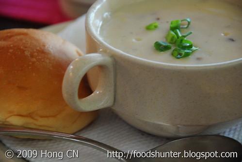 Mushroom creamy soup with bread bun