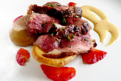 duck with blood orange mayonnaise and atrichokes