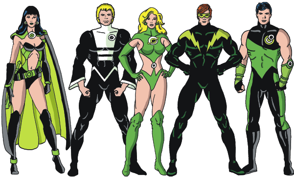 Shrinking Violet, Element Lad, Saturn Girl, Lightning Lad, Cosmic Boy