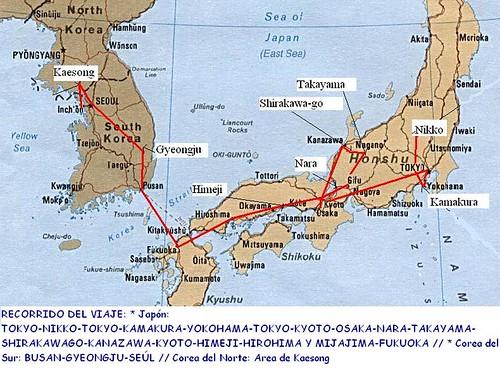 Mapa recorrido Japón y Coreas por ti.
