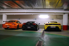 somewhere in Vienna (piolew) Tags: vienna wien auto orange black car yellow photography am nikon 911 automotive ferrari monaco porsche trio lamborghini rs 2009 scuderia supercar spotting hof gallardo digest combo 430 gt3 lambo spotter gt3rs d80 lp5604 piolew