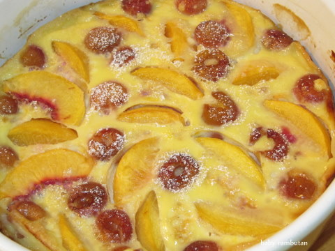 clafoutis, golden cherries and stone fruits