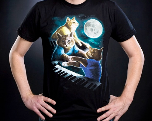 Three Keyboard Cat Moon Shirt