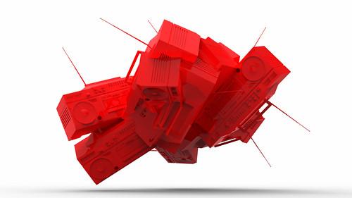 Red Plastic Boom Box Mash
