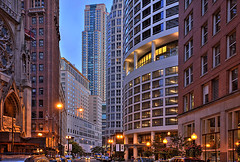 (Kevin Dickert) Tags: city urban chicago architecture buildings downtown cityscape skyscrapers towers wideangle canyon explore highrise canon5d bluehour hdr highdynamicrange core density goldcoast streetwall peninsulahotel urbanity chicagoplace rushstreet canonef1740mmf4l skylike theclareatwatertower iamhydrogen kevindickert rushcanyon