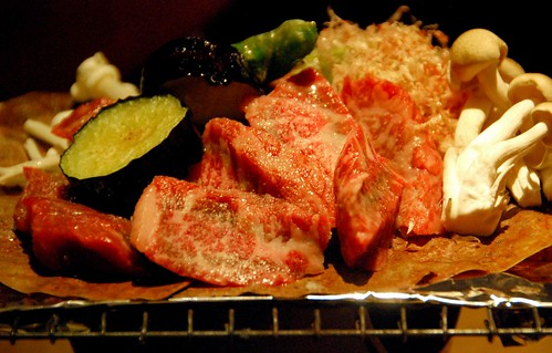 hida beef on magnolia leaf with miso paste, takayama