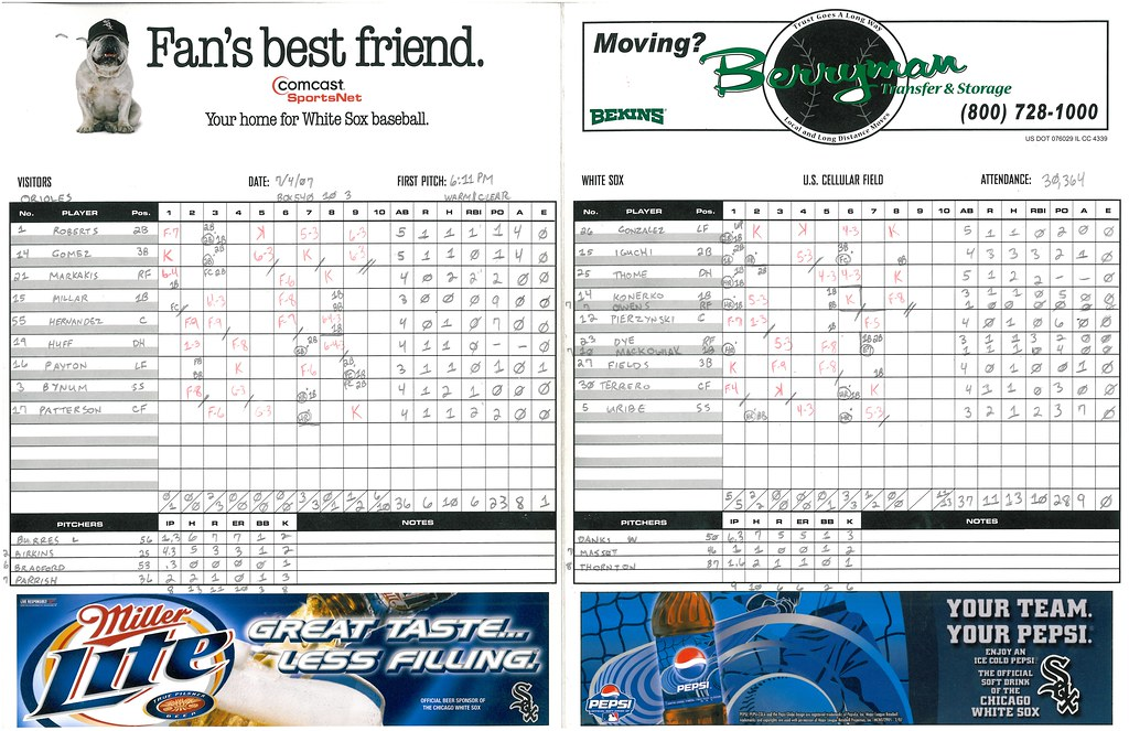 My Completed Scorecard for the Game Between the Baltimore Orioles and the Chicago White Sox at US Cellular Field -- Chicago, IL, July 5, 2007