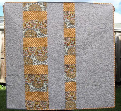 Front: Gray Tangerine Stacked Coin Baby Quilt
