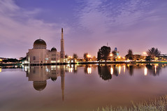 Masjid As-Salam - Tranquillity in Puchong Perdana (naza.carraro) Tags: lake reflection wet postcard mosque raya aidilfitri puchong tranquillity platinumpeaceaward