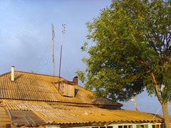 Roof () Tags: roof sunset summer sky house tree village russia country antenna samara