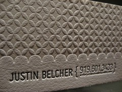 Justin Belcher Business Card (Close Up) (dolcepress) Tags: ink paper cards business dolce cotton letterpress press dulce