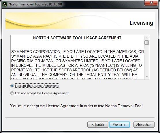 Norton Removal Tools - Schritt 2: Lizenz