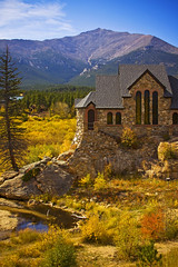 The Chapel on the Rock (kotobuki711) Tags: autumn fall church rock stone pine clouds pond colorado catholic chapel bluesky stainedglass september co mtmeeker saintmalo allenspark stcatherineschapel canon50d