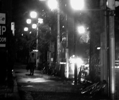 64/365: Typhoon (joyjwaller) Tags: street blackandwhite man rain japan night umbrella lost tokyo streetlight decay stranger typhoon project365 kitashinjuku whatdoesanybodyactuallybelieveanymore