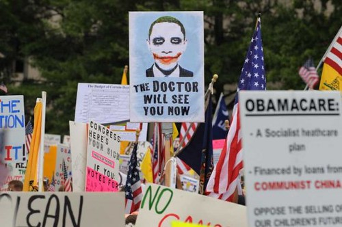march and demonstration held by thousands to protest health care reform