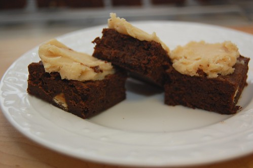 mocha fudge brownies with peanut butter frosting