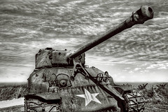 Ol' Sherman (dai oni) Tags: bw white black france beach utah nikon tank d70s nikkor normandy dday hdr sherman relic 1870