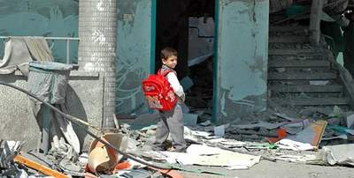 destroyed school in gaza