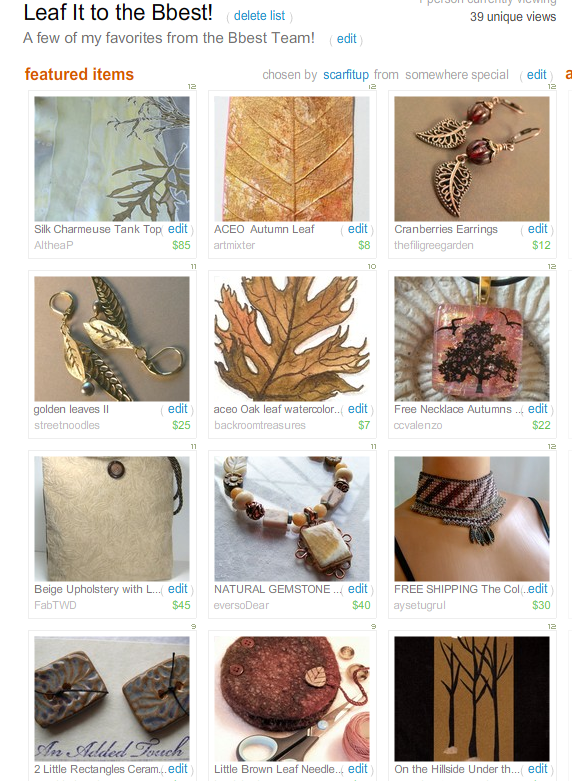 Leaf it to the Bbest!  Treasury by Scarfitup!