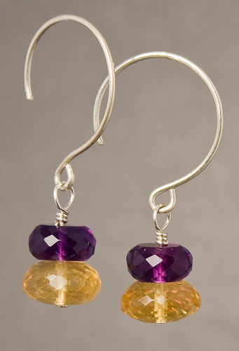 Citrine and amethyst hanging