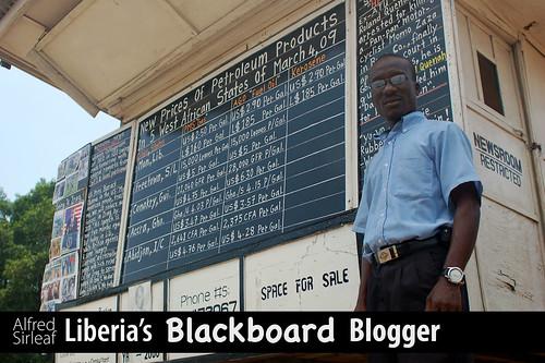 Thumb Alfred Sirleaf el Bloguer de pizarra, sin Internet ni Página Web