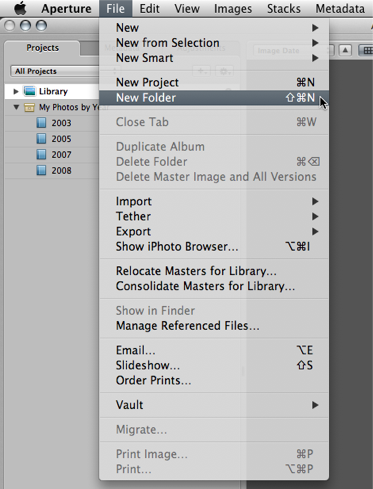 Step 06 -- Manually create a Blue Folder for each year