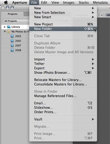 Step 06 -- Manually create a Blue Folder for each year