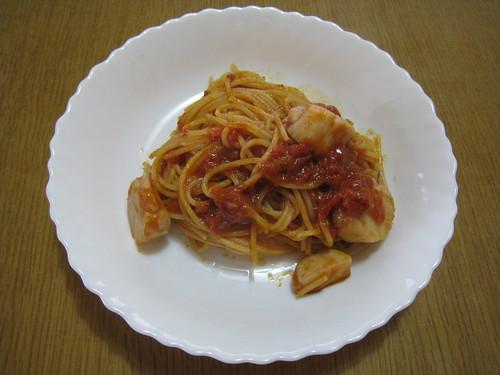 ホタテのトマトソーススパゲティ+アンチョビ