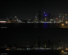 Earth Hour 2009 Sydney (Kyaw Photography) Tags: longexposure panorama skyline lights interestingness tripod sydney australia difference nsw nightscene operahouse f11 milsonspoint explore100 earthhour canoneos450d 28309 rebelxsi