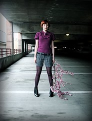 Blossom (Jade M. Sheldon) Tags: pink shadow woman selfportrait texture me fashion wardroberemix self concrete spring branch risk purple boots blossom gray naturallight tights pale jade sp strength bud moment redhair remain stance ruffle anaisnin jademsheldon