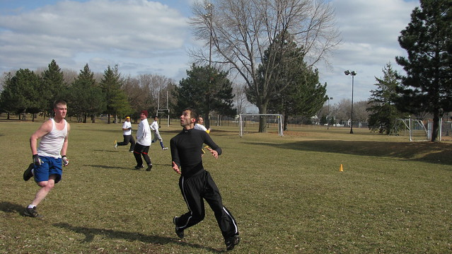 Photo of guys playing touch football at the Northeast Minneapolis Athletic Fields